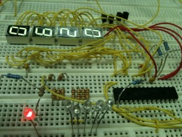 Overview of the microcontroller side of the circuit. The microcontroller multiplexes the 4 7-segment displays as well as controlling the proportional-integral software to monitor the buck converter.