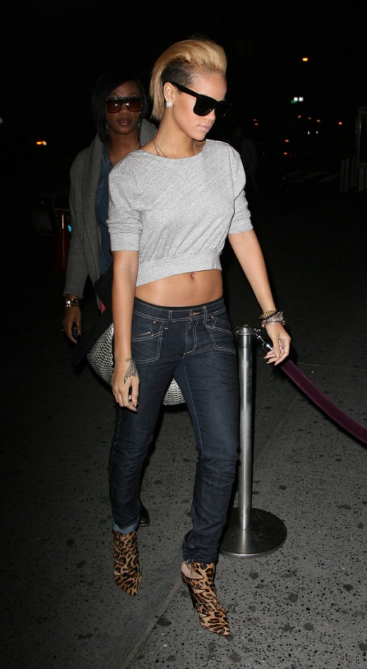 Rihanna In Jeans and Leopard Print Shoes