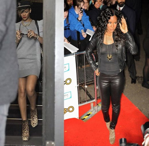 Kelly Rowland vs. Rihanna in Christian Louboutins Leapord Mamanouk Low Boots