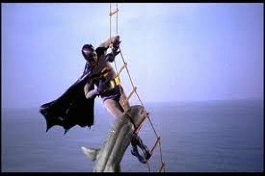 The courageous Batman fighting off the Shark in the 1966 movie Batman! (PRIME)