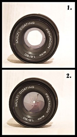 Large aperture at the top, small aperture at the bottom