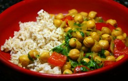 Bean and chickpea curry with fruit rice
