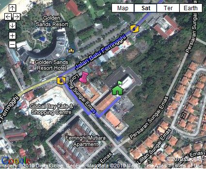 Pin icon is Eden Parade shopping complex and green house icon is EQ Ferringhi Hotel