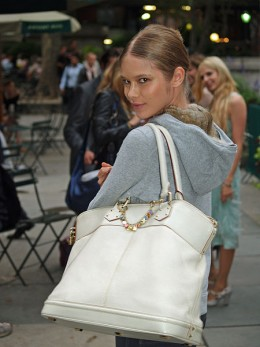 Very beautiful unidentified model at Mercedes-Benz fashion Week with Louis Vuitton handbag. Photo by David Shankbone