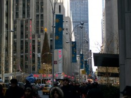 A cool shot of the streets surrounding Radio City Music Hall.