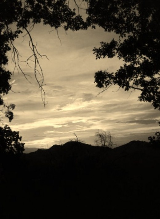 Another spectacular sunset in the San Bernardino Mountains looks amazing in sepia tones.