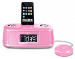 pink iLuv desktop alarm clock with bed shaker for your iPod