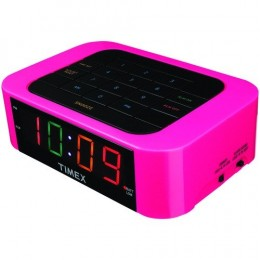 This pink Timex alarm clock has a keypad to set the time. (click for a larger view)