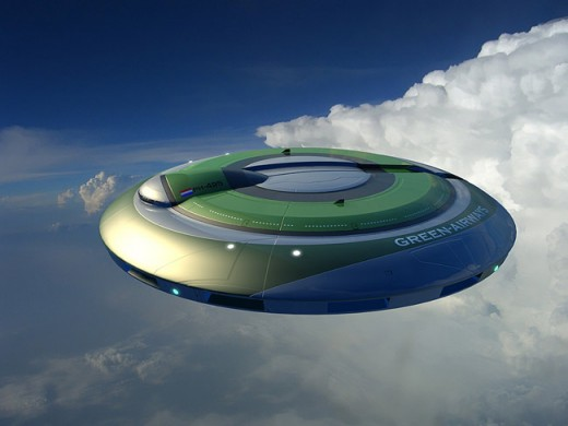 An eco-friendly airplane design based on the flying saucer form.