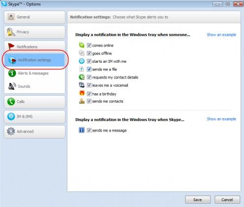 Diagram 1. Configuring Skype notifications