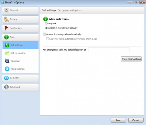 Diagram 3. Skype call settings