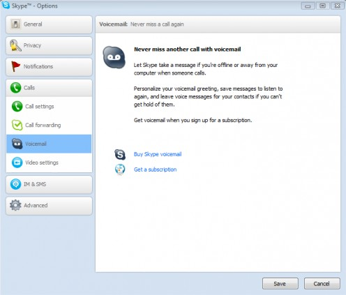 Diagram 6. Setting up Skype voicemail