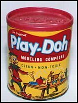 The Original packaged can had an Elf on it named Play-Doh Pete. Later Play-Doh Pete became a boy in a smock.