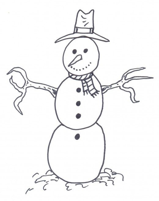 How to draw a cartoon snowman.