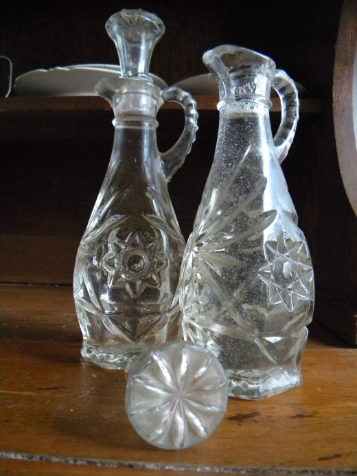 Glass cruets for oils and flavored vinegars