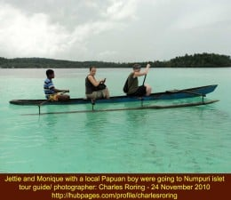 Rowing with a canoe from Numfor island to Numpuri islet