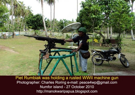 an old machine gun abandoned by the Japanese forces in Numfor island after being defeated by the American forces in 1944