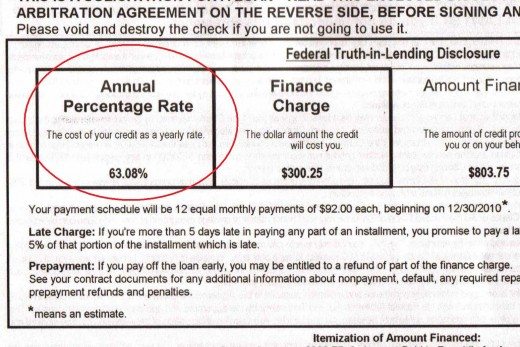 I got one of those unsolicited payday loans type junk mail today, and on my way to shred it, I just happened to notice this 'highly affordable' 63.08% interest rate.  I hope no one falls for this.