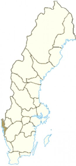 Map location of Bohus (shaded brown) in south-western Sweden