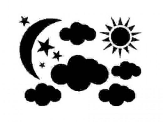 Moon, Sun, Cloud, Stars Vinyl Wall Decal by Designer Dcor