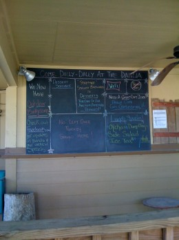 Menu board on the back porch