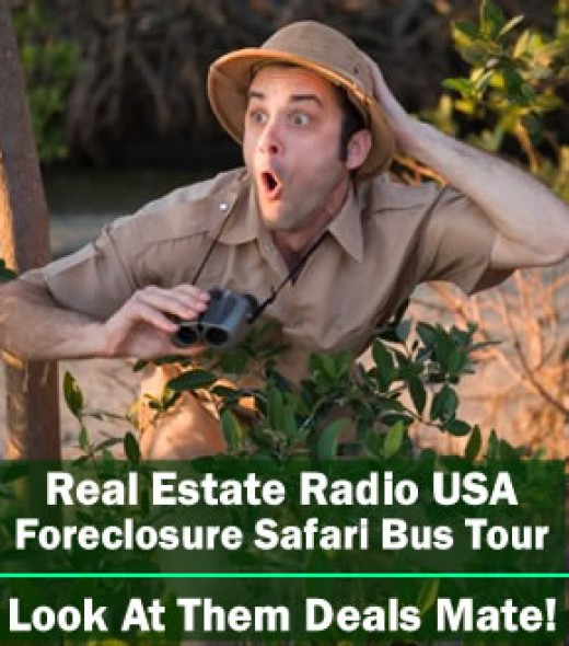 The Hunt for Foreclosure with a Man with Binoculars - Foreclosure Safari Bus Tour