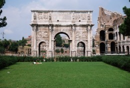 Constantine's triumphal arch in Rome (315 AD.) In Roman mythology Victoria was the goddess of victory and was a major part of Roman society. Multiple temples were erected in her honor and she was worshiped by conquering generals.