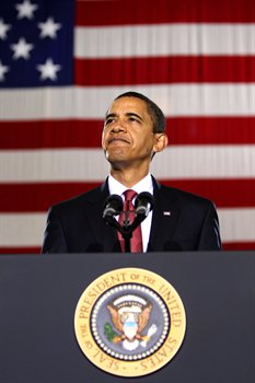 President Barack Obama talks to troops and civilians during his visit to Camp Lejeune, N.C., Feb. 27, 2009. Obama was on Camp Lejeune to discuss current policies and an exit strategy from Iraq.