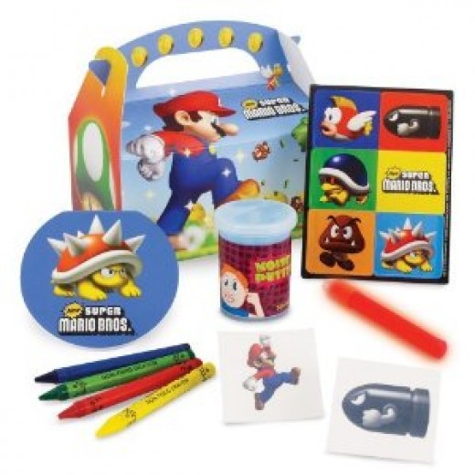 Mario Party Box containing goodies like stickers, notepads and crayons as well as the Mario themed box. Makes good party bags!