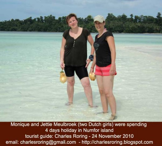 Monique and Jettie were spending their 4-day holiday in Numfor island. Bird watching, swimming, snorkeling.