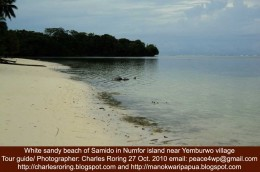 white sandy beach at the tropical island of Numfor in Papua province of Indonesia