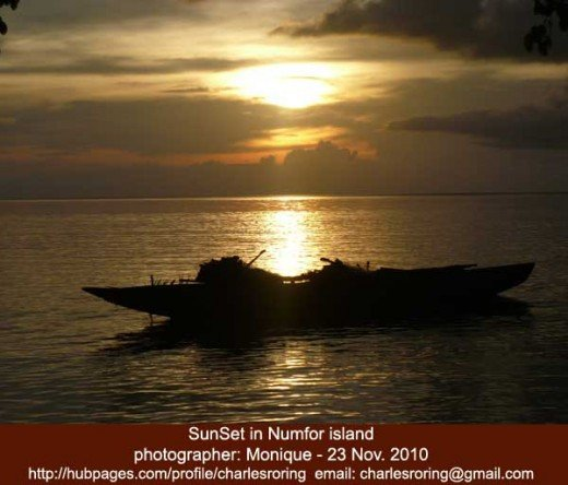 sunset in Numfor island, a tropical paradise in Papua province of the Republic of Indonesia