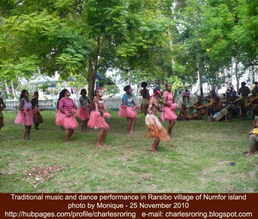 traditional music and dance performance in Rarsibo village of Numfor island