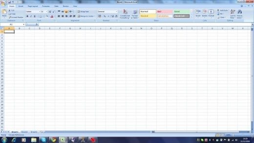 A new Sheet in Microsoft Excel 2007