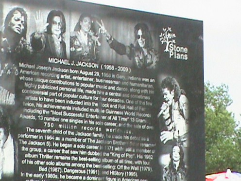 Pictures of Michael Jackson Granite Monument in front yard of his home at 2300 Jackson St., Gary, IN