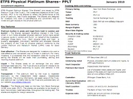 ETFS Platinum Overview