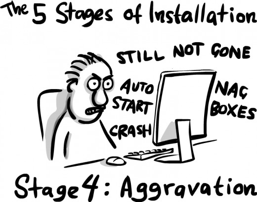 Aggravation. An uninstaller might have saved you this but my telling you is only going to aggravate you more, so forget I said anything.