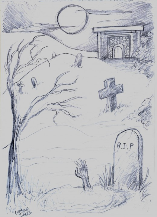 Draw scary cemetery.