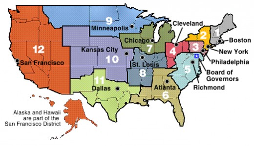 12 Federal Reserve Districts of USA (federal reserve.gov)