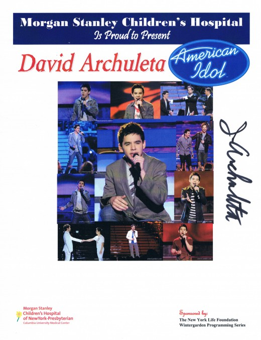 This flier includes the autograph of David Archuleta's father, Jeff Archuleta.