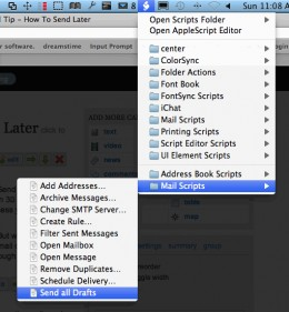 The Mail Script pulldown