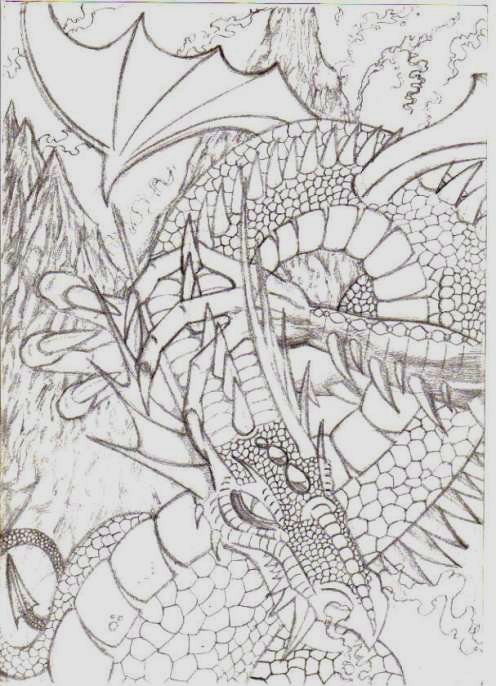 This dragon drawing I did a few years ago now was a complete dragon drawing that I did first time round with no pre draft sketches or any thought it just tripped off the pencil as I was doodling, sometimes this can happen if your are really focused.