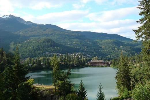 Lake with Whistler Mountain in background