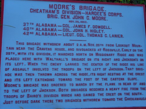 Marker near the 42nd Alabama position on Missionary Ridge