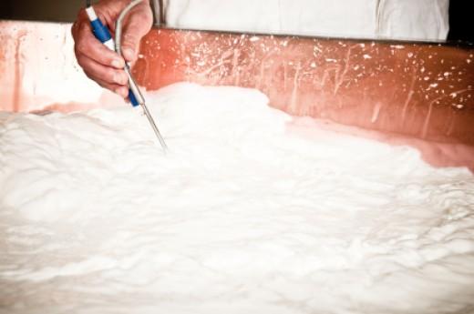 Checking the temperature & pH of the milk Image:  iStockphoto.com/piccerella