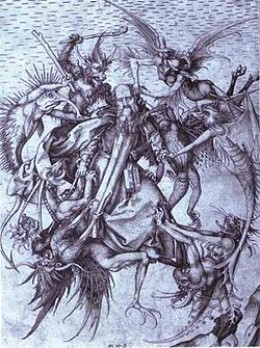 This is a dipiction of St. Anthonny being pestered by demonds
