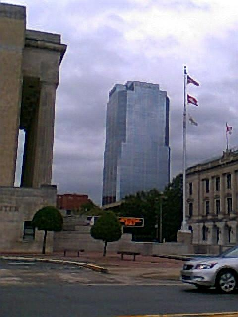 The Stephens building can be seen, as the mirrored building. Little Rock Peabody is across the street to the left, toward the river.