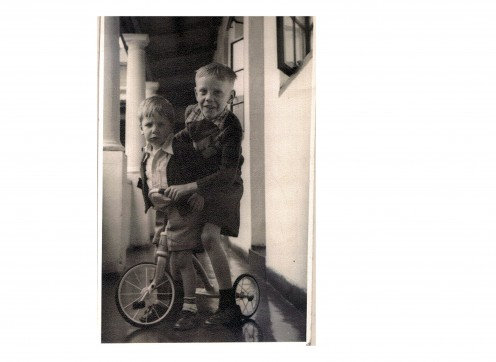 "My Brother and  I. When I was three and he was six. we rode on  'horses"", played with sticks. '"