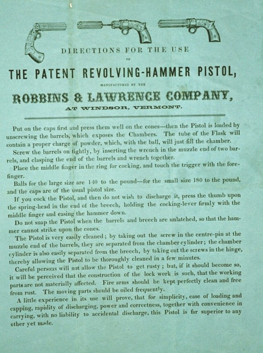 Although it became commonly referred to as the Lawrence Pistol, the company never advertised it as such.  R&L manufactured them until 1856.