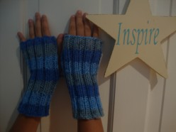 Handmade knitted hand warmers.